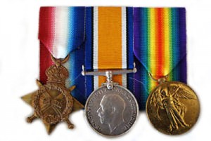 The 1914-1915 Star, British War Medal and Victory Medal, similar to that posthumously awarded to Private Wallace Frederick WILSON