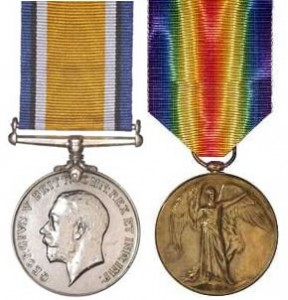 The British War Medal and Victory Medal similar to that awarded to 19252 William LAHN. These medals were sold by a relative many years ago and it is hoped a very kind collector may consider selling these medals back to the family.