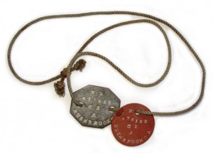 Second World War dogtags, similar to those of Albert Robertson Fowlie.  If you have any dog tags to this man in your collection, please contact the Medals Gone Missing Administrator.