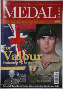 The March 2014 edition of Medal News magazine.  This publication is an excellent resource regarding medals and military awards and is highly recommended.