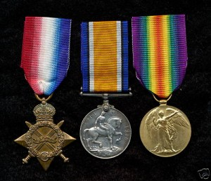 The 1914-1915 Star, British War Medal and Victory Medal, similar to those awarded to Raymond Stanley MARRIOTT who served in the 7 Field Company Engineers during the First World War.
