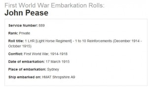 The First World War Embarkation Roll of Trooper John Pease from Koorawatha in New South Wales.