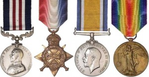 The Military Medal, 1914 Star, British War Medal and Victory Medal, similar to that awarded to John MacINNES. His descendants are desperately seeing these missing medals and are willing to compensate whoever may have these awards in their collection.