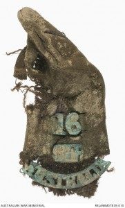 Remains of an AIF epaulete recovered from 'Bloody Angle' at Gallipoli (a short distance from Quinn's Post) and held in the Australian War Memorial Collection.