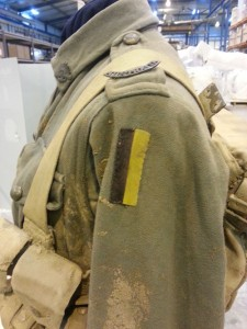An example of the 'Australia' copper shoulder title and 29th Australian Infantry Battalion colour patch of the uniform worn by Private C.J. GILES . This excellant example was obtained by Charles Bean who established the Australian War Memorial and now forms part of that collection.