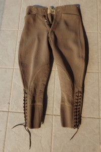 First World War style mounted pattern breeches with bedford cord reinforcing on the inner thigh. Note the method of fitting and securing the lower leg opening by way of laces.