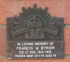 Commemorative Plaque for Francis William BYROM;  5th Australian Light Horse Regiment.  His medals are desperately being sought by his descendants.   Can you help?
