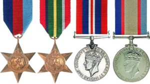 An image of the missing Second World War medals awarded to Eigil Holst SORENSEN. The missing medals consist of the 1939-1945 Star, Pacific Star, 1939-1945 War Medal and 1939-1945 Australia Service Medal.