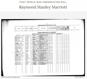 Australian War Memorial First World War Embarkation Roll containing the details of Raymond Stanley MARRIOTT. Are you a descendant of this man?
