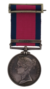 An example of a General Service Medal 1793-1814. Whilst this actual medal shows a clasp for Busaco, the missing General Service Medal of Donald GRANT may still have a clasp for Maida attached to the ribbon.