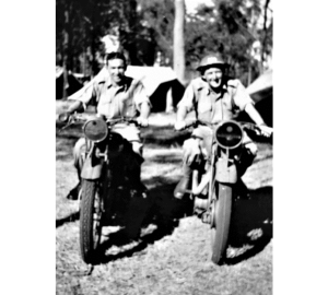 Walter Joseph HUNT (on right wearing helmet) and a comrade pose on motor cycles whilst serving with the 162nd Australian General Transport Company. It is believed this photograph was taken somewhere in Australia. The unit was to serve in Milne Bay New Guinea during 1944.