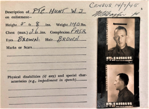 The AMF (Australian Military Forces) enlistment photograph of Walter Joseph HUNT N256695 who enlisted in 1942.